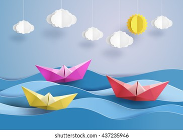 origami made colorful sailing boat.paper art and  digital craft style.