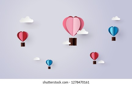Origami made hot air balloon in a heart shape. paper art 3d from digital craft.