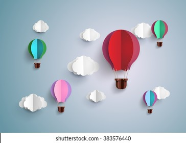 Origami made hot air balloon and cloud.paper art style.