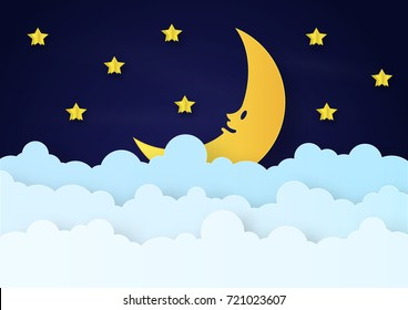 Origami made mobile paper yellow star and cloud and a half moon in night background. paper art design and craft style.
