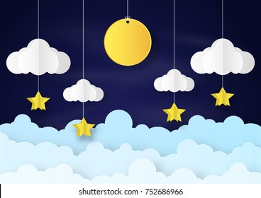 Origami made mobile paper yellow star and cloud and a moon in night background. paper art design and craft style.