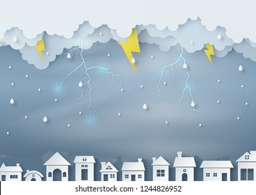 Origami made rainy weather forecast of the city has overcast sky and lightning, paper art design and craft style. vector and illustration.