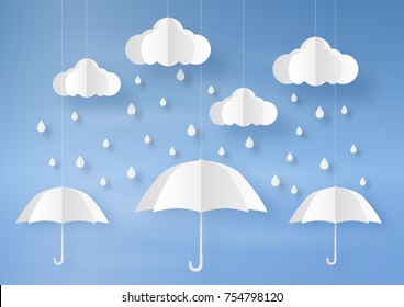 Origami made rainy weather forecast of Water drop on the umbrella, paper art design and craft style.