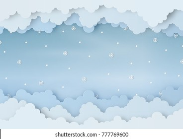 Origami made winter weather forecast of snowballs and snowflakes drop in the air on sky background, copy space, paper art design and craft style. Christmas concept.