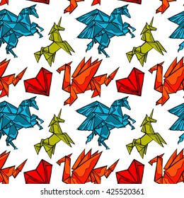 Origami. Magical animals: dragon, pegasus, unicorn. Heart. Seamless vector pattern (background).