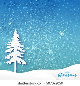 Origami Merry Christmas Greeting card with Xmas Tree and landscape
