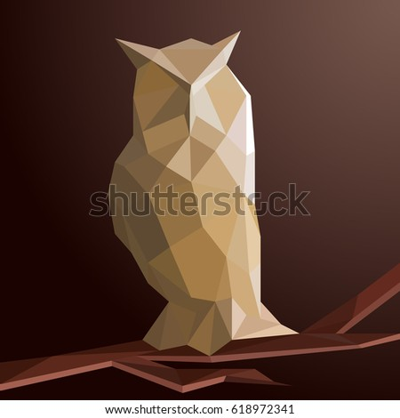 Origami Owl Low Poly Vector Illustration Stock Vector Royalty Free