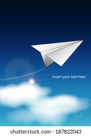 origami paper airplane flies during a clear sunny day above white clouds on a blue sky