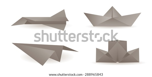Origami Paper Airplanes Boats Stock Vector (Royalty Free) 288965843