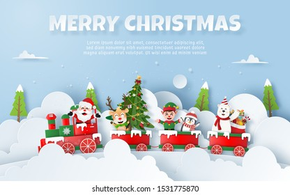 Origami Paper art of Christmas party on the train with Santa Claus, Copy Space, Merry Christmas and Happy New Year