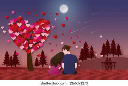 Origami Paper art of Romantic couple sitting on grass floor in the park looking at the moon in twilight time, Love and Happy Valentine's Day