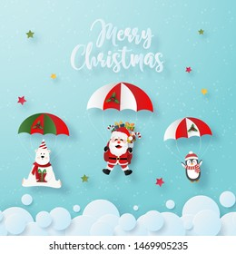 Origami paper art of Santa Claus and Christmas characters a parachute jump on the sky, Merry Christmas and Happy New Year