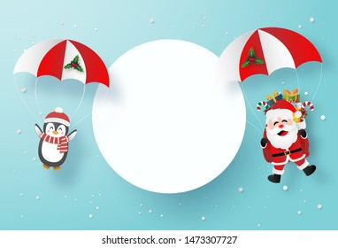 Origami paper art of Santa Claus and Penguin make a parachute jump with blank space, Merry Christmas and Happy New Year