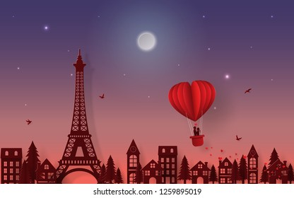 Origami Paper art of Silhouette romantic couple on balloon floating over Paris city in twilight time, Love and Happy Valentine's Day