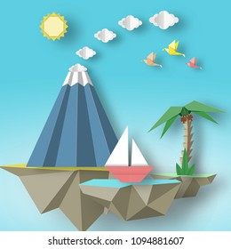 Origami Paper artistic applique with soars islands on which there are ship, volcano, palm. Artwork nature cutout concept. Cut out template elements, symbols for cards. Vector Illustrations Art Design.
