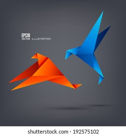 Origami paper bird on abstract background