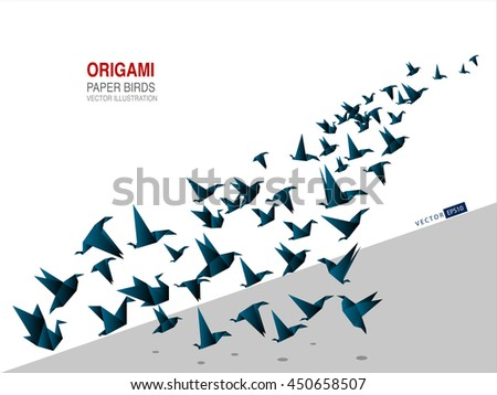 origami paper bird vector illustration template stock vector