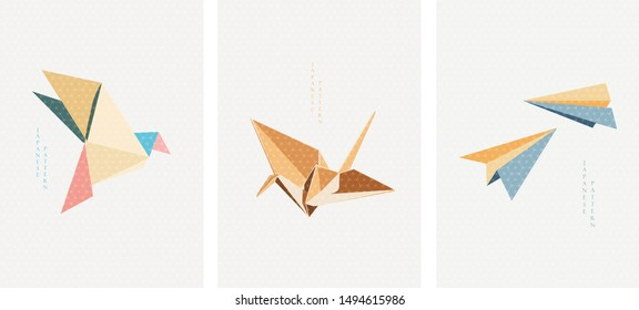 Origami paper of birds and airplane vector. Japanese icons and pattern.