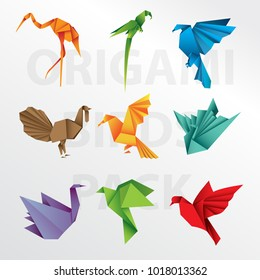 Origami paper birds collection