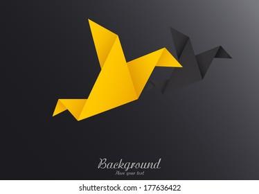 Origami paper birds-vector illustration