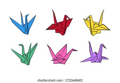 Origami paper bird.Vector illustration. Polygonal shape. Art of paper folding. Japan origami crane,pigeon.
