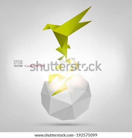 origami paper bird vector illustration polygonal shape paper stock