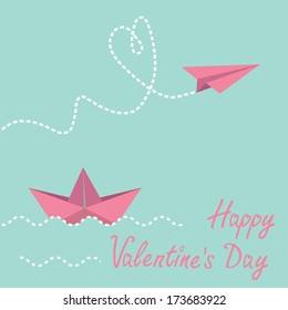Origami paper boat and paper plane.  Happy Valentines day card.  Vector illustration.