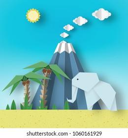 Origami Paper Concept Landscape with Elephants, Palm, Sun, Sky, Volcano. Papercut Applique Style Cutout Fashion Trend. Summer Tropical Scene with Elements, Symbols. Vector Illustrations Art Design.