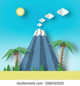 Origami Paper Concept Landscape with Palm, Sun, Sky, Volcano. Artistic Papercut Applique Style and Cutout Fashion Trend. Summer Tropical Scene with Elements, Symbols. Vector Illustrations Art Design.