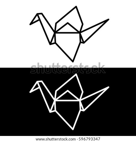 Origami Paper Crane Symbol On White Stock Vector Royalty Free