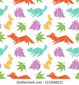 Origami. Paper figures. Forest animals: raccoon, hare, fox, hedgehog. Seamless vector pattern (background).