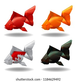 Origami paper gold fishes group set decor vector illustration