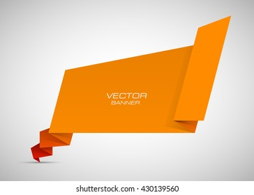 Origami paper infographic colorful banners set. Annotation ribbon. Advertising Design shape. Speech talking cloud. Vector label tag.