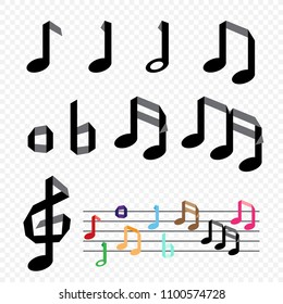 Origami paper music note on transparent background. Handmade musical treble clef and notes on staff melody