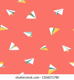 Origami paper planes flying. Colorful cute seamless vector pattern. Small white planes on red background. Ideal for summer shirts and dresses, kids wear, bags, bandanas, textile, paper, stationery.