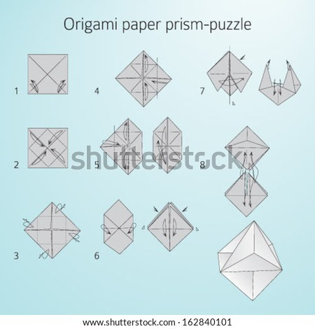 Origami Paper Prismpuzzle Instructions Assembly Stock Vector