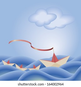 origami paper ship leading three smaller boats through rough waters, vector illustration