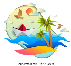 Origami paper ship toy swimming in ocean waves with beach and palms, beautiful vector illustration of scenic seascape with toy boat floating in sea and birds in sky. Water travel, summer holidays.