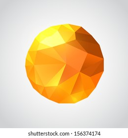 Origami paper sun, Sun 3d sign, Sun sphere geometry element, Sphere sun icon, Sphere polygon sign, Vector illustration