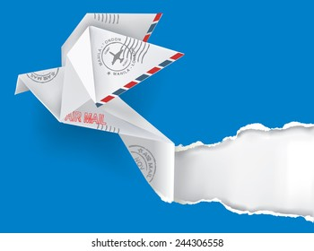 Origami pigeon. Origami pigeon with post stamps ripping paper on blue background. Original postcard or envelope  template with place for your address. Vector illustration.