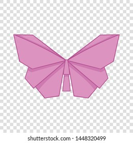 Origami pink butterfly icon. Cartoon illustration of origami pink butterfly vector icon for web design