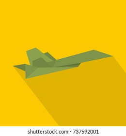 Origami plane icon. Flat illustration of origami plane vector icon for web