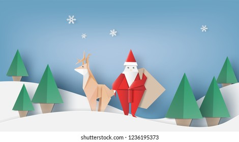 Origami of Santa claus is carrying a gifts sack,reindeer and Christmas trees,vector illustration paper art style.