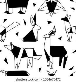 Origami seamless pattern. Cute texture with black and white animals and bird. Vector geometric background: bear, fox, wolf, hare, deer, owl. Hand drawn forest. Doodle surfase design for textile, paper