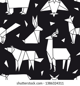 Origami seamless pattern. Cute texture with white animals and bird on black. Vector geometric background: bear, fox, wolf, hare, deer, owl. Hand drawn forest. Doodle surfase design for textile, paper