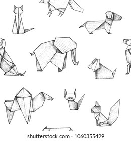 Origami - seamless pattern with gray paper animals