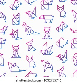 Origami seamless pattern with thin line icons: penguin, camel, fox, bear, sparrow, fish, mouse, bird, elephant, kangaroo, hare, seal, raccoon. Modern vector illustration for workshop.