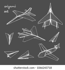 Origami - set of 8 white paper planes