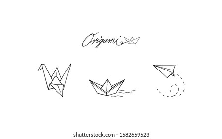 Origami set different random objects outline vector illustration. Crane or a swan. boat or a ship and plane made from folded paper silhouette drawing decoration. Origami logo symbols collection.