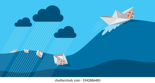 origami ship sailing through rain, wind and wave. surviving tough time, business resilience or life resilience concept